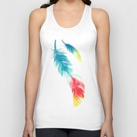 freeminds Tank Tops featuring Feather by Freeminds