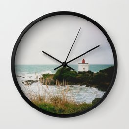 Film photo of the lighthouse at Bluff, NZ Wall Clock
