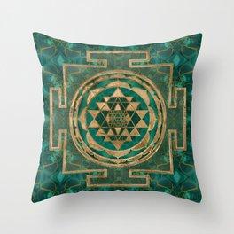Sri Yantra  / Sri Chakra Malachite and gold Throw Pillow