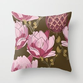 Botanical flower pattern. Magnolia flower buds Throw Pillow