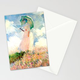 Claude Monet : Woman With A Parasol Stationery Cards
