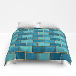 Ocean Blue Watercolor Subway Tiles Comforters