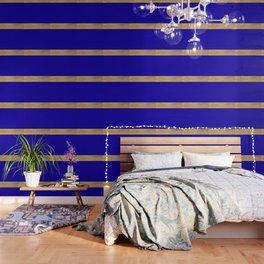 Color Blocked Gold & Cerulean Wallpaper