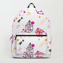 Modern hand painted pink black yellow geometrical space Backpack
