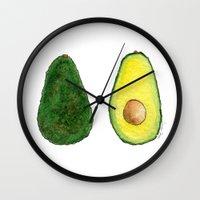 avocado Wall Clocks featuring Avocado  by Amelia Jayne