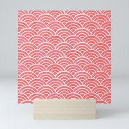 Japanese Seigaiha Wave Pattern – Coral Mini Art Print