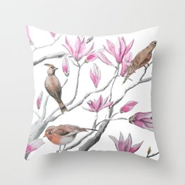 magnolia flowers and birds Throw Pillow