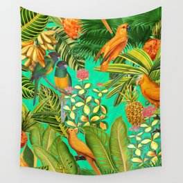 Vintage & Shabby Chic - Colorful Tropical Birds Flower Garden Wall Tapestry
