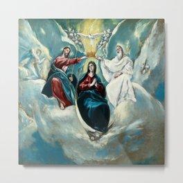 """El Greco (Domenikos Theotokopoulos) """"The Coronation of the Virgin (1592)"""" Metal Print"""
