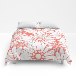 Summer Flowers Living Coral Comforters