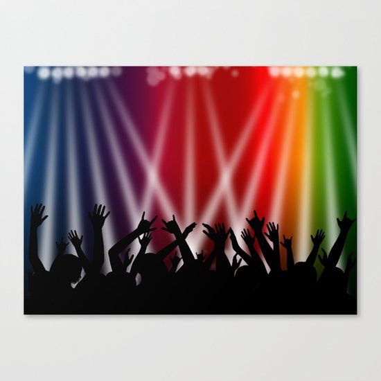 Dancing Crowd With Multi Colour and White Spotlights Canvas Print