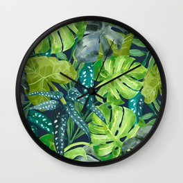 Botanical Leaves Wall Clock