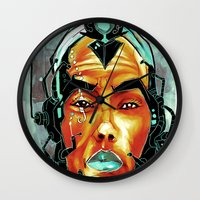 sci fi Wall Clocks featuring BLK SCI-FI 6 by BlackKirby1