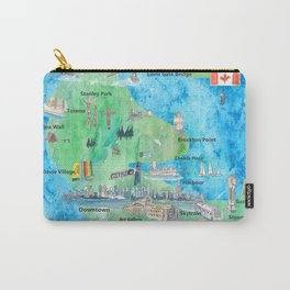 Vancouver British Columbia Canada Travel Poster Favorite Map Carry-All Pouch