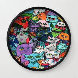 Crazy Cats Color  Wall Clock