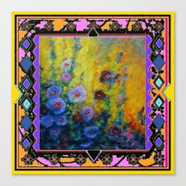 Blue Hollyhock Painting in Western Style Design Canvas Print