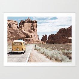 Highway Trip in the Desert Art Print