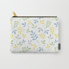 Assorted Leaf Silhouettes Blue Green Grey Yellow White Ptn Carry-All Pouch