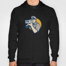 policeman with police speed camera retro Hoody