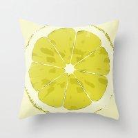 lemon Throw Pillows featuring Lemon by Avigur