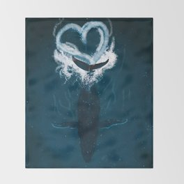 Whale Heart Splash Throw Blanket