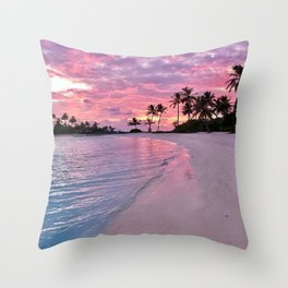 SUNSET AND PALM TREES Throw Pillow