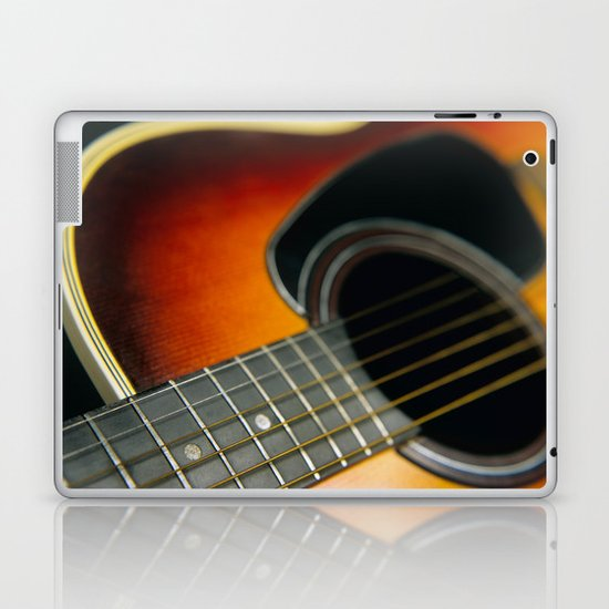 Guitar - Acoustic close up Laptop & iPad Skin