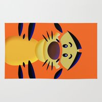 cartoons Area & Throw Rugs featuring Cute Orange Cartoons Tiger Apple iPhone 4 4s 5 5s 5c, ipod, ipad, pillow case and tshirt by Three Second