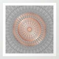 Rose Gold Gray Mandala Art Print