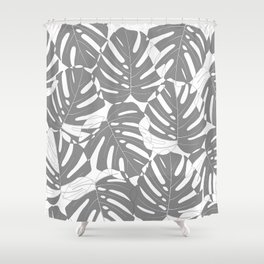 Monstera deliciosa Minimalistic black and white Shower Curtain