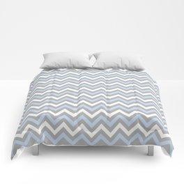 Chevron - light blue and grey Comforters