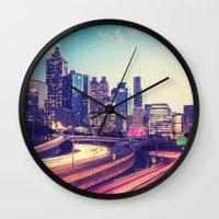 atlanta Wall Clocks featuring Atlanta Downtown by GF Fine Art Photography