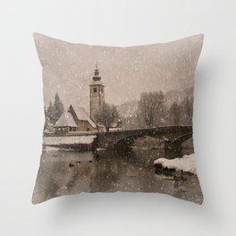 Lake Bohinj With The Church of St John the Baptist Throw Pillow
