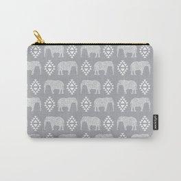 Elephant geometric southwest modern monochromatic grey children kids nature safari pattern  Carry-All Pouch
