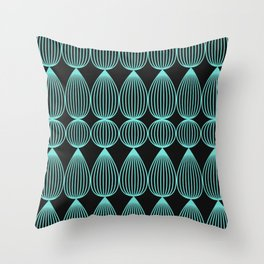 Striped drops in neon teal Throw Pillow