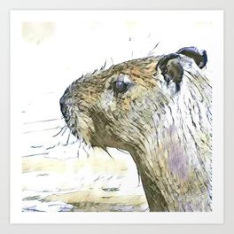 fascinating altered animals - Capybara Art Print