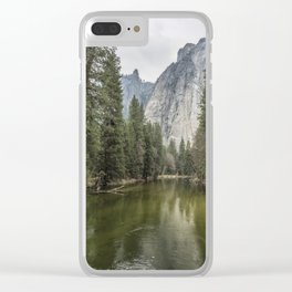 Cathedral Rocks and Spires behind Merced River Clear iPhone Case