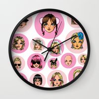 britney spears Wall Clocks featuring CartooNEY - Britney Spears Cartoons by Eduardo Sanches Morelli