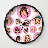 cartoons Wall Clocks featuring CartooNEY - Britney Spears Cartoons by Eduardo Sanches Morelli