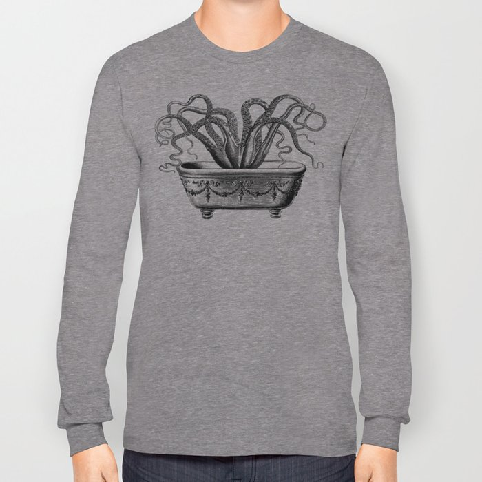 Tentacles in the Tub   Octopus   Black and White Long Sleeve T-shirt