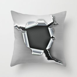 ripped a hole in metal Throw Pillow