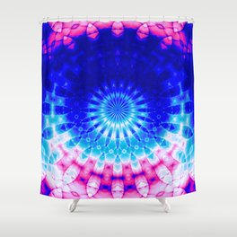 Concentric Field (blue-pink) Shower Curtain