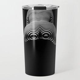 8737-KMA BW Art Nude Zebra Striped Rear View Bum Butt Booty Travel Mug