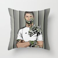 real madrid Throw Pillows featuring Football Legends Cristiano Ronaldo Real Madrid Robot by Akyanyme