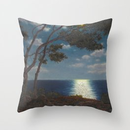 Classical Masterpiece 'Moonlight on the Water' by Ivan Fedorovich Choultsé Throw Pillow