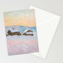 Claude Monet - Norway Landscape, Blue Houses Stationery Cards