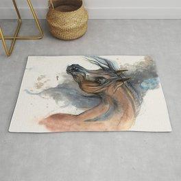 Arabian horse portrait watercolor art Rug