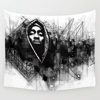 tupac Wall Tapestries featuring 2Pac Illustration by Skillmatik by Mr Skillmatik