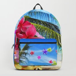 Tropical Beach and Exotic Plumeria Flowers Backpack