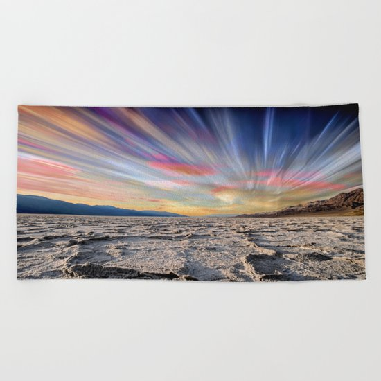Stopping Time : Colorful Sky Landscape Beach Towel